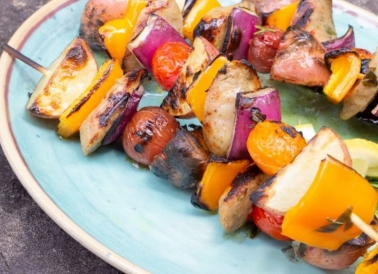 Michigan Potato Kabobs on plate