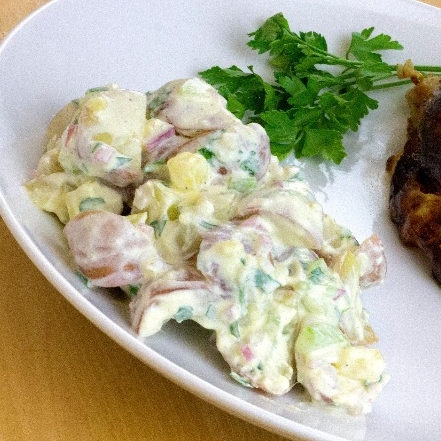 Easy Michigan Potato Salad on plate with main course