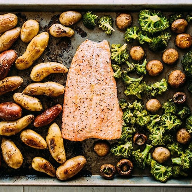 Sheet Pan Salmon and Potatoes
